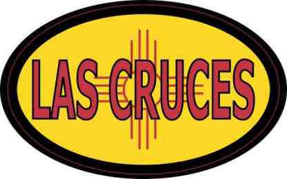 Oval New Mexico Flag Las Cruces Sticker