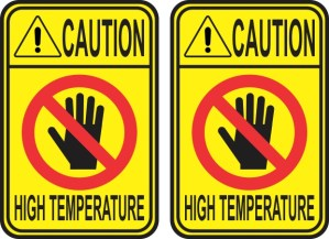 Caution High Temperature Stickers