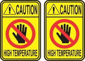 Caution High Temperature Stickers