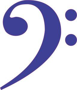 Blue Bass Clef Sticker
