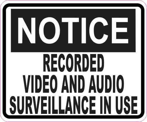 Notice Video and Audio Surveillance Sticker