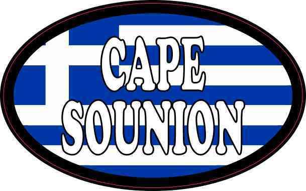 Oval Greek Flag Cape Sounion Sticker