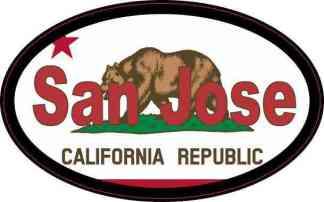 Oval Californian Flag San Jose Sticker