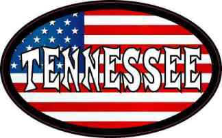 Oval American Flag Tennessee Sticker
