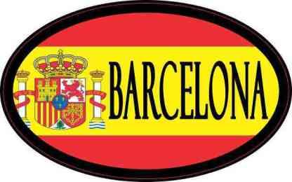 Oval Spanish Flag Barcelona Sticker