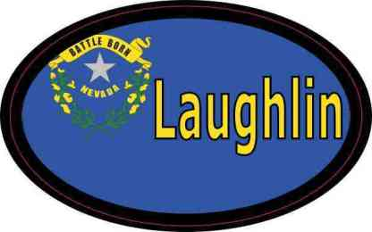 Oval Nevada Flag Laughlin Sticker