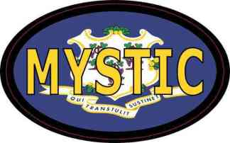 Oval Connecticut Flag Mystic Sticker