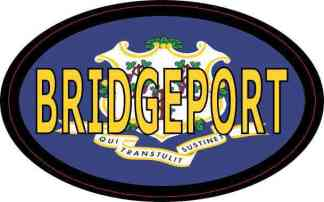 Oval Connecticut Flag Bridgeport Sticker