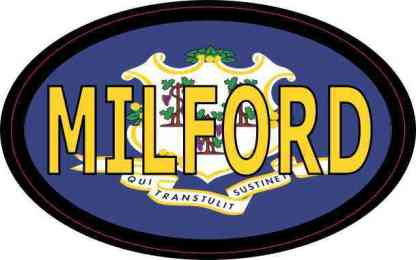 Oval Connecticut Flag Milford Sticker