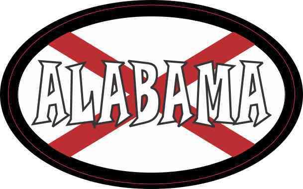 Flag Oval Alabama Sticker