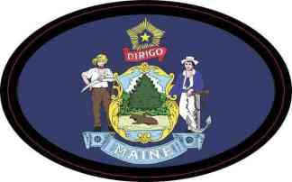 Flag Oval Maine Sticker