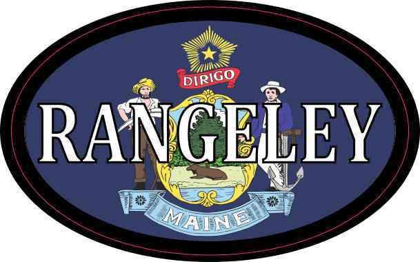 Oval Maine Flag Rangeley Sticker