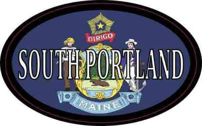 Oval Maine Flag South Portland Sticker