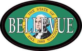 Oval Washington Flag Bellevue Sticker