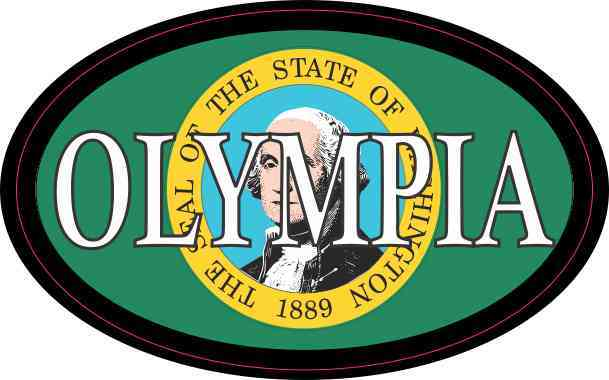 Oval Washington Flag Olympia Sticker