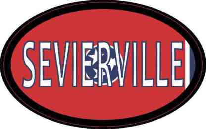 Oval Tennessee Flag Sevierville Sticker