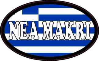 Oval Greek Flag Nea Makri Sticker