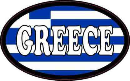 Flag Oval Greece Sticker