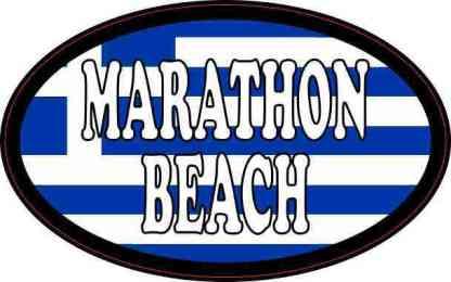 Oval Greek Flag Marathon Beach Sticker