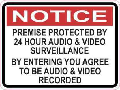 Notice Premise Protected by 24 Hour Surveillance Sticker