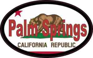 Oval Californian Flag Palm Springs Sticker