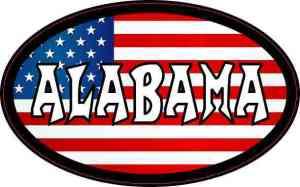 Oval American Flag Alabama Sticker