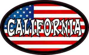 Oval American Flag California Sticker