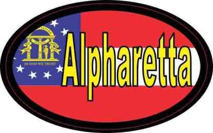 Oval Georgia Flag Alpharetta Sticker