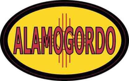 Oval New Mexico Flag Alamogordo Sticker