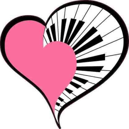 Pink Piano Heart Sticker