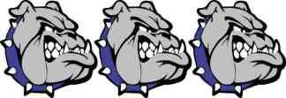 Right Facing Blue Collared Bulldog Stickers