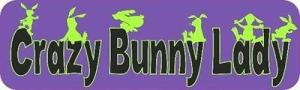 Purple Crazy Bunny Lady Bumper Sticker