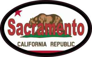 Oval Californian Flag Sacramento Sticker