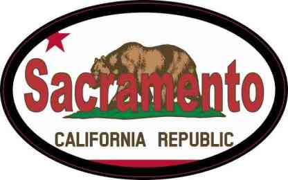 Oval Californian Flag Sacramento Sticker