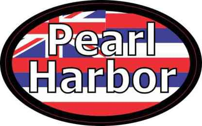 Oval Hawaii Flag Pearl Harbor Sticker