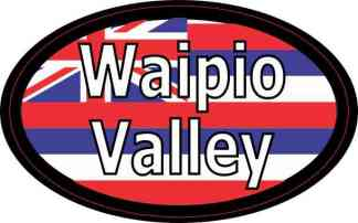 Oval Hawaii Flag Waipio Valley Sticker