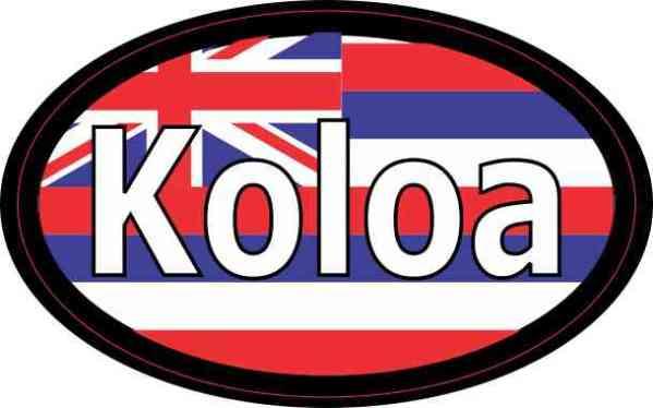 Oval Hawaii Flag Koloa Sticker