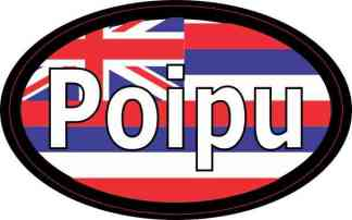 Oval Hawaii Flag Poipu Sticker