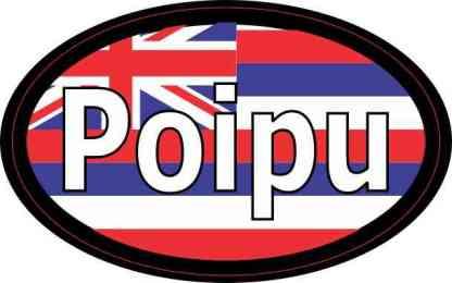 Oval Hawaii Flag Poipu Sticker