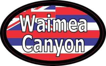 Oval Hawaii Flag Waimea Canyon Sticker