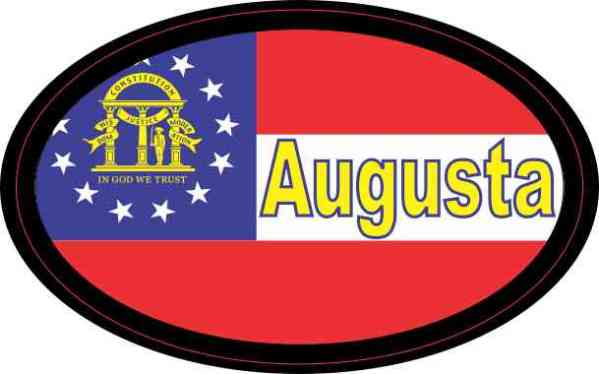 Oval Georgia Flag Augusta Sticker