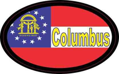 Oval Georgia Flag Columbus Sticker
