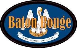 Oval Louisiana Flag Baton Rouge Sticker