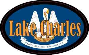 Oval Louisiana Flag Lake Charles Sticker