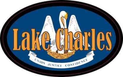 Oval Louisiana Flag Lake Charles Sticker