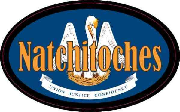 Oval Louisiana Flag Natchitoches Sticker