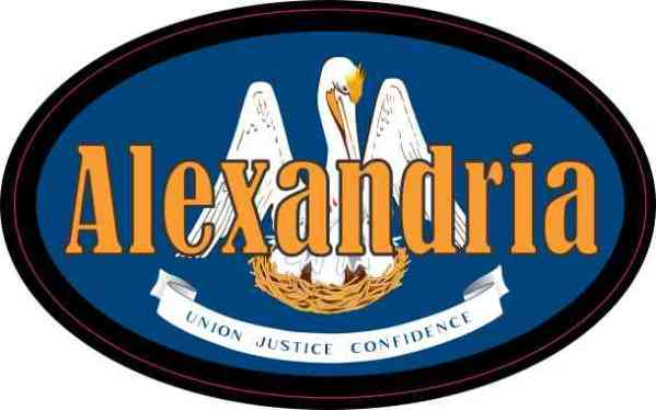 Oval Louisiana Flag Alexandria Sticker
