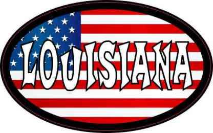 Oval American Flag Louisiana Sticker