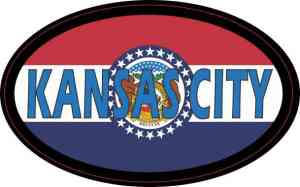 Oval Missouri Flag Kansas City Sticker