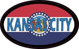 Oval Missouri Flag Kansas City Sticker